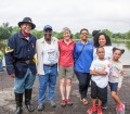 On Saturday, June 4, at Constitution Garden Pond on the National Mall, l-r back row, Michael Theard, Buffalo Soldier, Wayne Hubbard, Urban American Outdoors TV and Urban Kids Fishing Derby founder, Sally Jewell, 51st United States Secretary of the Interior, Dr. Mamie Parker, Chesapeake Conservatory - Board of Directors, Candice Price, Urban American Outdoors TV and Urban Kids Fishing Derby founder, and l-r front row, Jace Freeman and Cayce Freeman, Urban Kids Fish Youth Ambassadors at the 2nd Urban Kids Fishing Derby DC. (Photo credit: Cheriss May / Ndemay)
