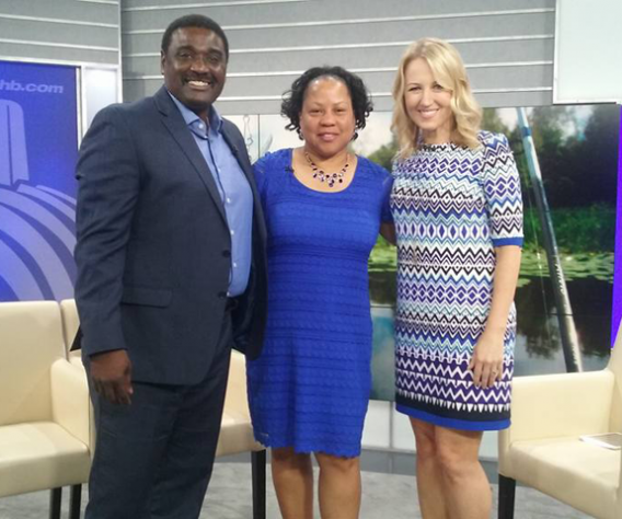 Urban Kids Fishing Derby Founders, Wayne Hubbard and Candice Price, with Kansas City Live host Michelle Davidson.