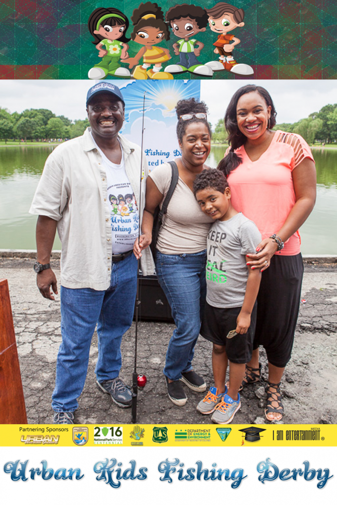 Wayne Hubbard, Kawana Lloyd, mother of the Fishing Derby winner, 8-year-old Lucas Robertson, winner of the Urban Kids Fishing Derby, Nichole Thomas, CEO & Integrative Nutrition Health Coach, Virtuous Living at the 2nd Urban Kids Fishing Derby DC.